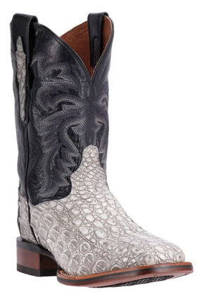 Dan Post Denver Silver Caiman Cowboy Boots - Square Toe, Grey, hi-res