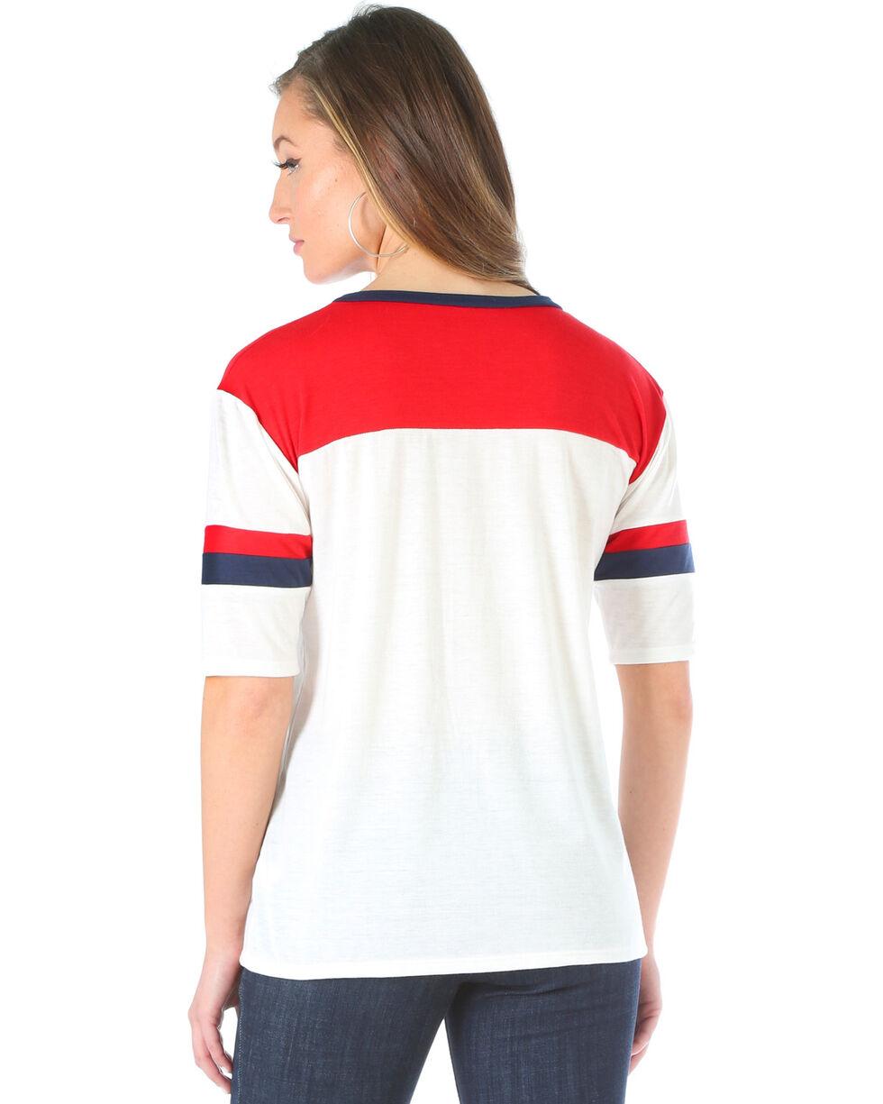 Wrangler Women's 3/4 Length Sleeve Colorblocked Tee, Red/white/blue, hi-res