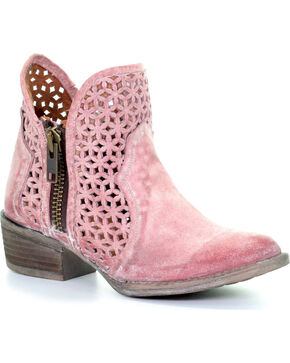 Circle G by Corral Women's Pink Cutout Shortie Boots - Round Toe , Pink, hi-res