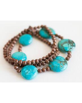 West & Co. Women's Mini Melon Turquoise Bead Bracelet, Rust Copper, hi-res