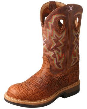 Twisted X Men's Lite Cowboy Elephant Print Western Work Boots - Round Toe, Tan, hi-res