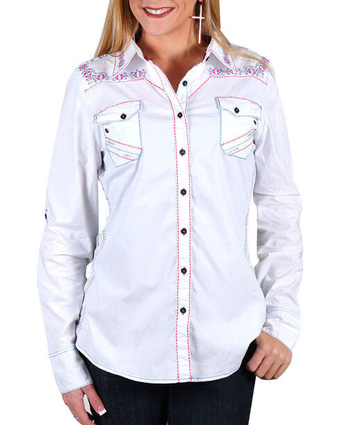 Grace in LA Women's White Lace Bottom Long Sleeve Shirt , Pink, hi-res