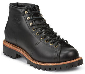 Chippewa Men's Black Lace-to-Toe Field Boots - Round Toe, Black, hi-res