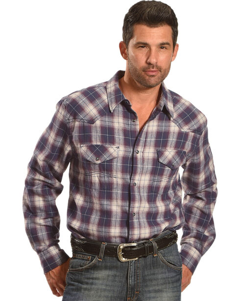Cody James Men's Plaid Printed Long Sleeve Shirt - Tall, Grey, hi-res
