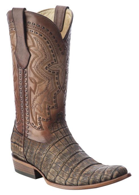 Corral Alligator Cowboy Boots - Round Toe, Antique Saddle, hi-res