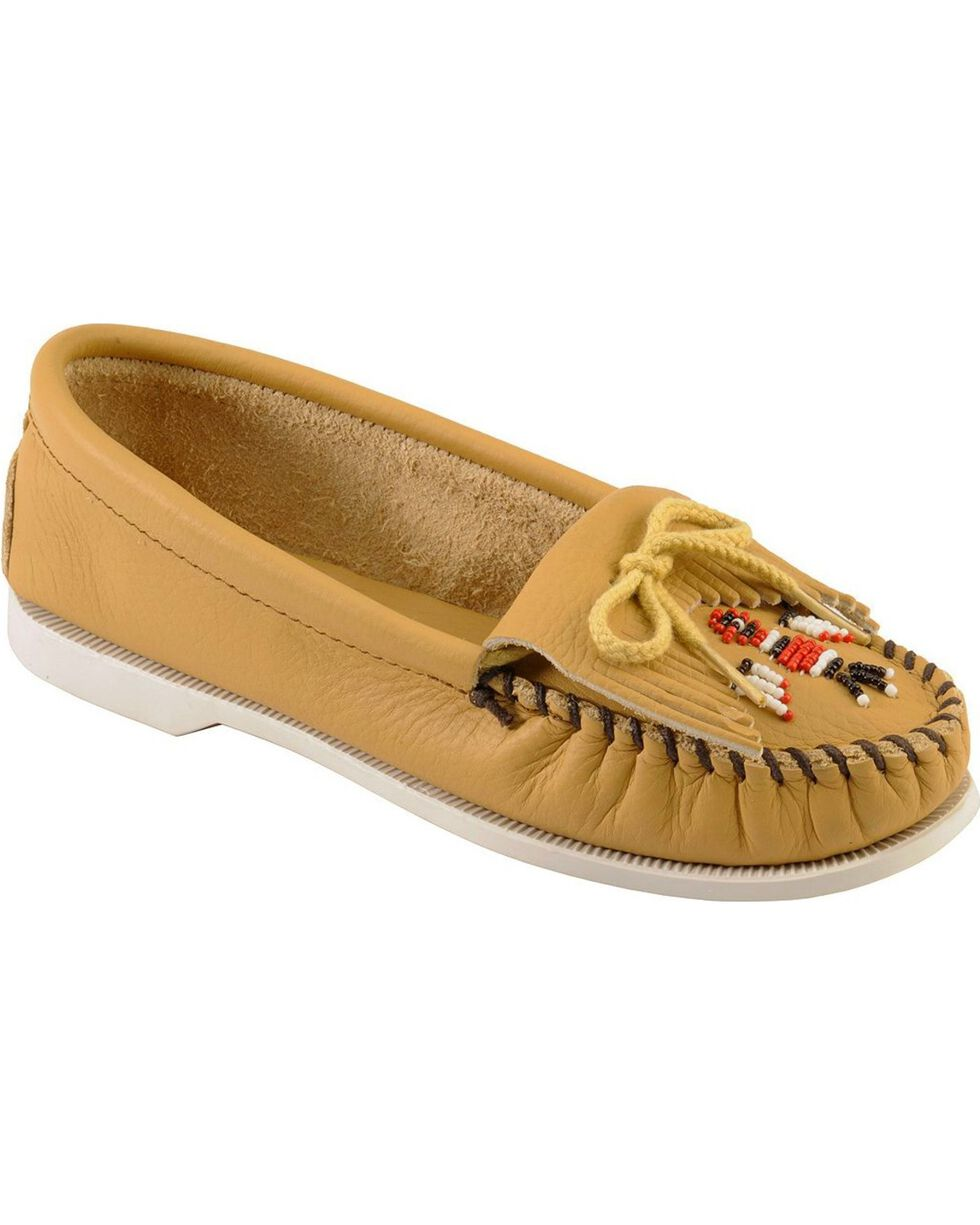 Minnetonka Smooth Leather Thunderbird Moccasins - Boat Sole, Natural, hi-res