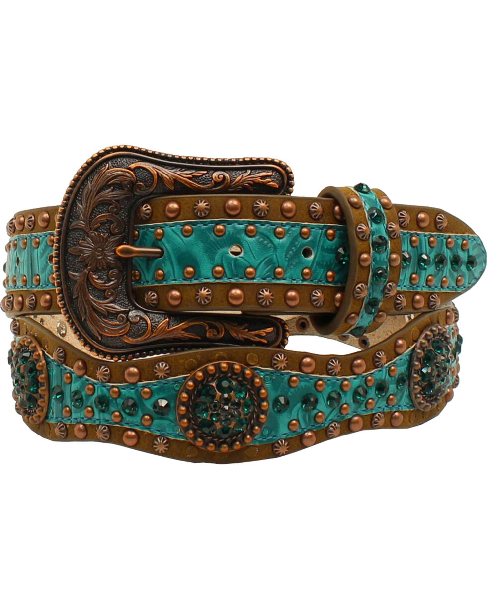 Ariat Scallop Floral Embossed Concho Belt, Brown, hi-res
