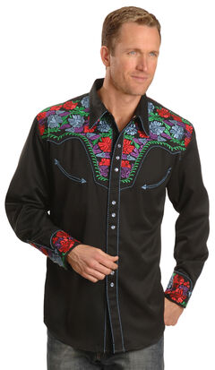 Scully Vibrant Floral Embroidered Retro Western Shirt - Big & Tall, , hi-res