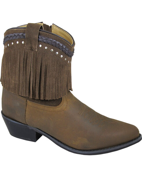 Smoky Mountain Torrance Brown Fringe Short Boots - Pointed Toe, Brown, hi-res