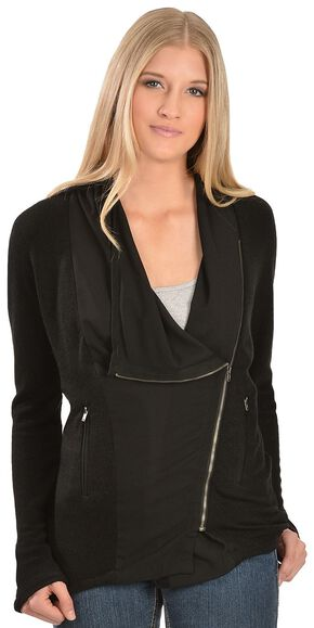 Petrol Asymmetrical Zipper Jacket, Black, hi-res