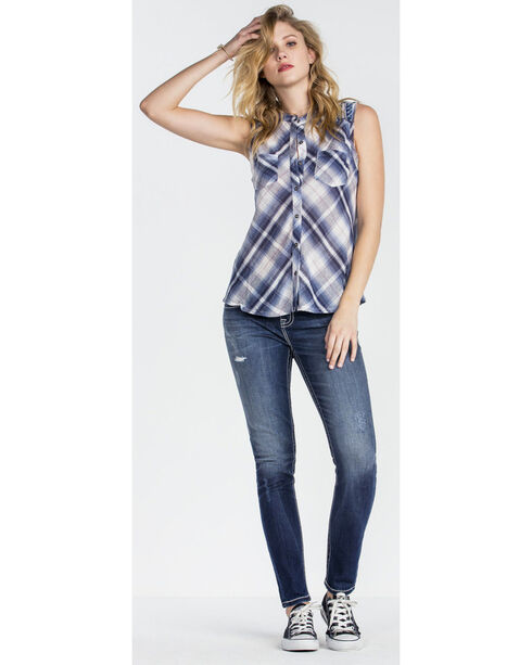 Miss Me Women's Blue Sleeveless Plaid Shirt , Blue, hi-res