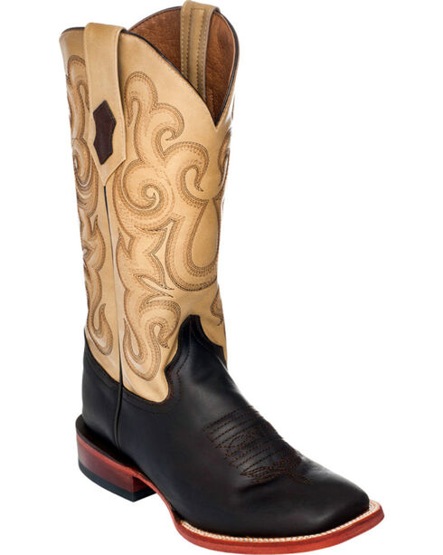 Ferrini French Calf Leather Cowgirl Boots - Square Toe, Chocolate, hi-res
