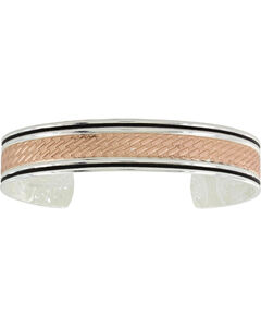 Montana Silversmiths Women's Rose Gold Whipped Stitch Cuff Bracelet , Silver, hi-res
