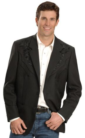 Scully Black Floral Embroidered Western Jacket - Big and Tall, Black, hi-res