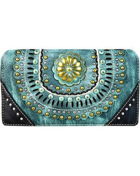 Montana West Women's Turquoise Secretary Style Wallet , Turquoise, hi-res