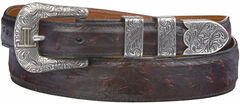 Lucchese Men's Black Cherry Full Quill Ostrich Leather Belt, , hi-res