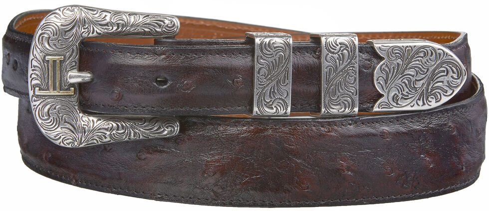 Lucchese Men's Black Cherry Full Quill Ostrich Leather Belt, Black Cherry, hi-res
