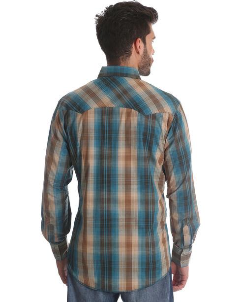 Wrangler Men's Teal Plaid Long Sleeve Western Shirt , Teal, hi-res