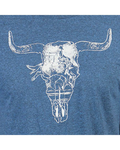 Cody James Men's Steer Skull Short Sleeve T-Shirt , Heather Blue, hi-res