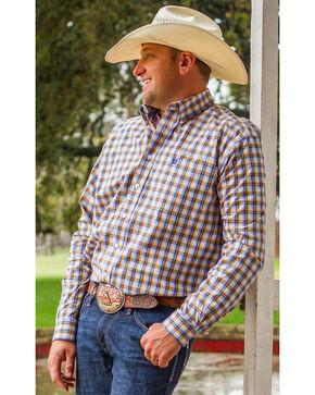 Cinch Men's Blue Plaid Long Sleeve Western Shirt, Multi, hi-res