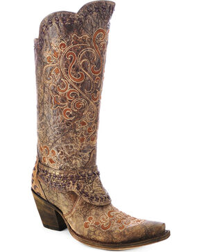 Corral Women's Embroidered Cowgirl Boots - Snip Toe, Cognac, hi-res
