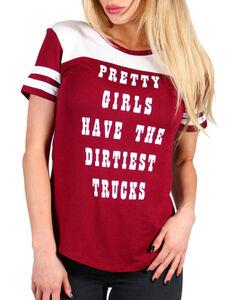 Recycled Karma Women's Dirtiest Trucks Tee, Burgundy, hi-res