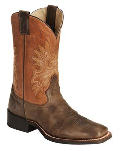 Double H Roper Cowboy Boots - Wide Square Toe, Chocolate, hi-res