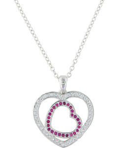 Montana Silversmiths Women's Love's First Blush Heart Necklace , Silver, hi-res