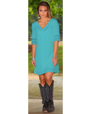Wrangler Women's Turquoise Crochet Neck and Sleeves Dress, Turquoise, hi-res