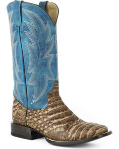 Roper Men's Blue Shaft Alligator Print Western Boots - Square Toe , Brown, hi-res