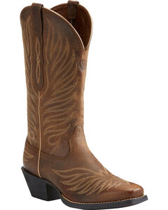 Ariat Women's Tan Round Up Phoenix Rodeo Boots - Square Toe , Tan, hi-res
