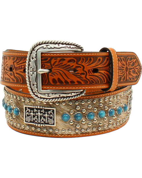 Ariat Men's Calf Hair 3 Crosses Concho Belt, Tan, hi-res