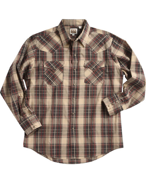 Ely Cattleman Men's Brown Textured Plaid Long Sleeve Snap Shirt, Rust Copper, hi-res