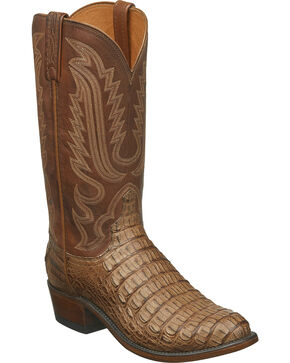 Lucchese Men's Walter Hornback Caiman Western Boots - Round Toe, Tan, hi-res