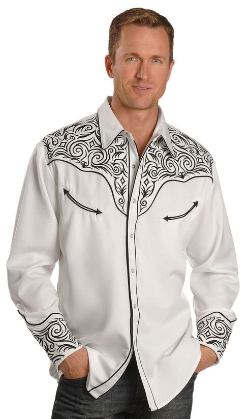 Scully Fancy Full Stitched Retro Western Shirt - Big & Tall, White, hi-res