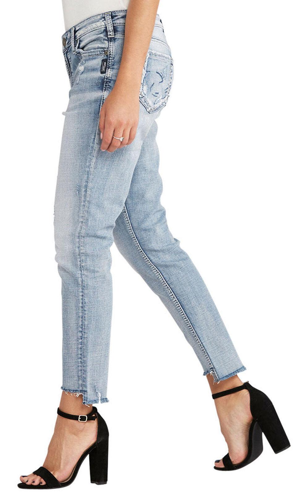 Silver Women's Loose Boyfriend Ankle Skinny Jeans - Plus Size, Indigo, hi-res
