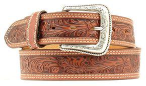 Nocona Floral Embossed Leather Belt, Tan, hi-res