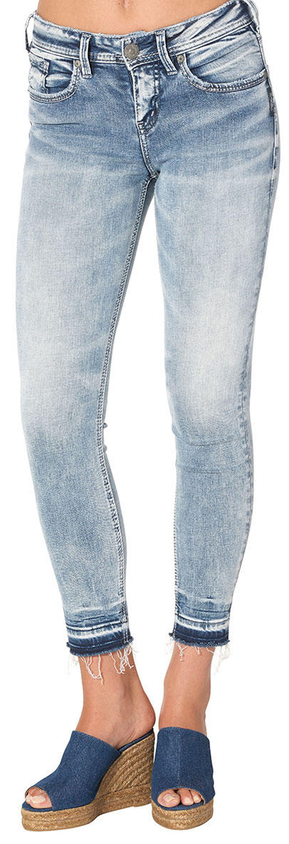 Silver Women's Avery Light Wash Ankle Skinny Jeans - Plus Size, Indigo, hi-res