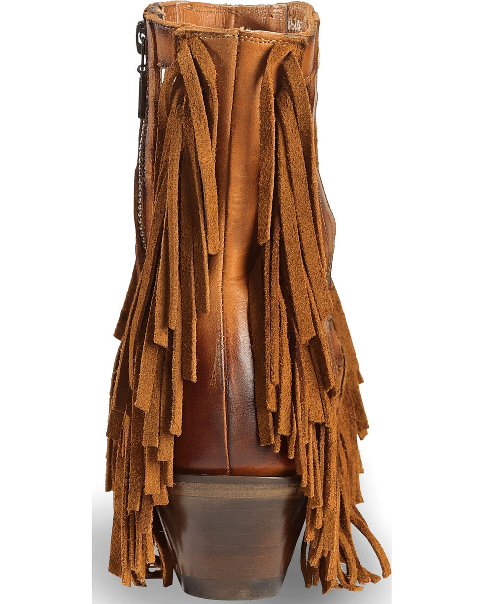 "Dan Post Women's 6"" Caged Fringe Western Boots - Round Toe, Brown, hi-res"
