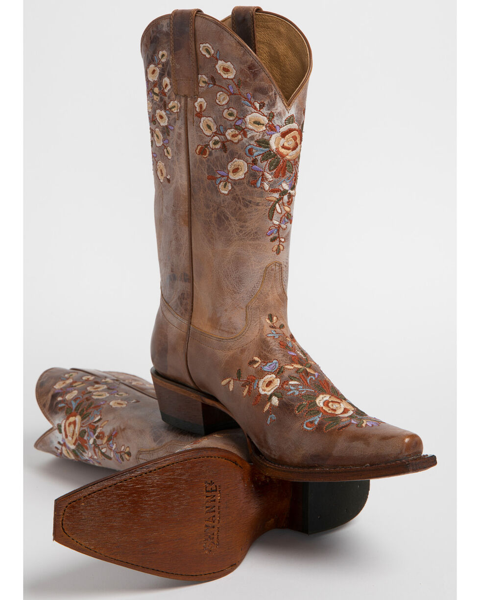 Shyanne Women's Floral Embroidered Western Boots - Snip Toe, Brown, hi-res