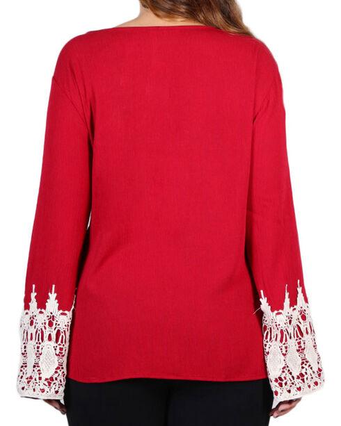Forgotten Grace Women's Crochet Trim Long Sleeve Top - Plus, Burgundy, hi-res