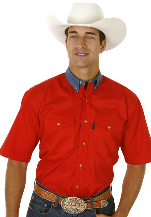 Roper Solid Twill Contrasting Denim Collar Short Sleeve Shirt, Red, hi-res