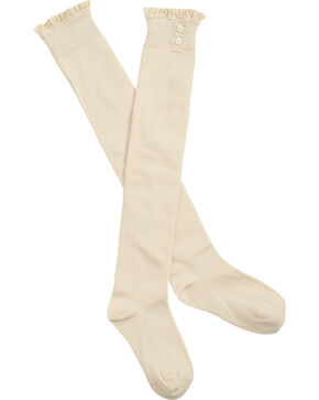 Shyanne Women's Crochet Lace Trim Knee High Socks, Cream, hi-res