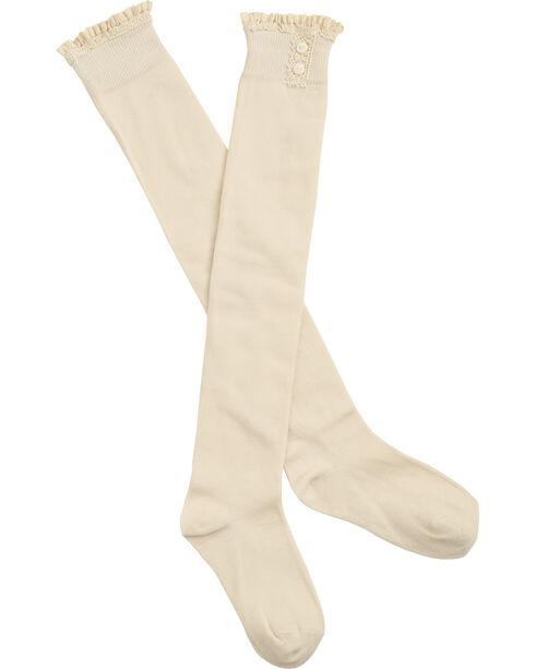 Shyanne Women's Crochet Lace Trim Knee High Socks, Cream, hi-res