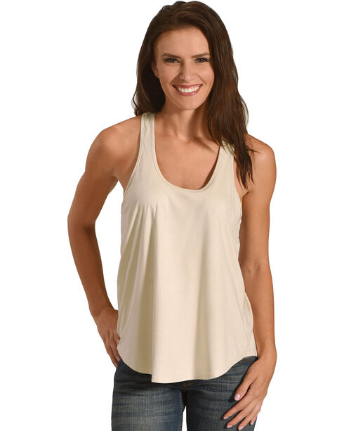 Shyanne Women's Solid Racer Tank, Ivory, hi-res