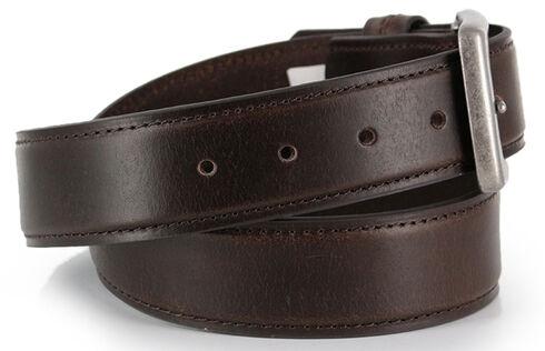American Worker Men's Brown Leather Belt, Brown, hi-res