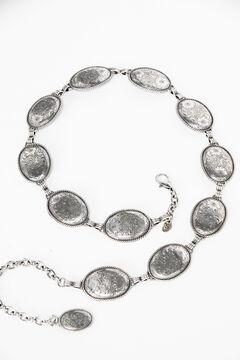 Tony Lama Antiqued Concho Link Hip Belt, Silver, hi-res
