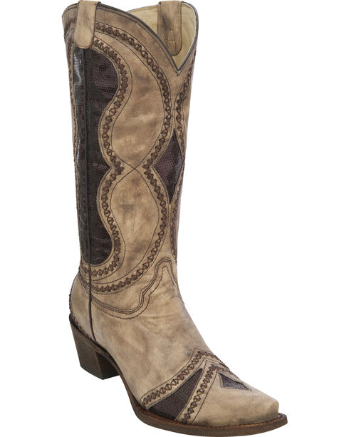 Corral Women's Diamond Inlay Cowgirl Boots - Snip Toe, Brown, hi-res