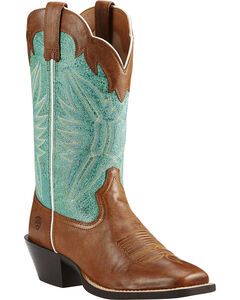 Ariat Round Up Outfitter Cowgirl Boots - Square Toe, Wood, hi-res