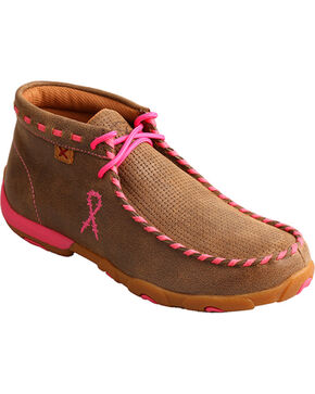 Twisted X Women's Bomber Breast Cancer Ribbon Driving Moccasin - Moc Toe, Pink, hi-res
